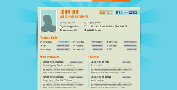 Themeforest Online Resume Template  Motivation