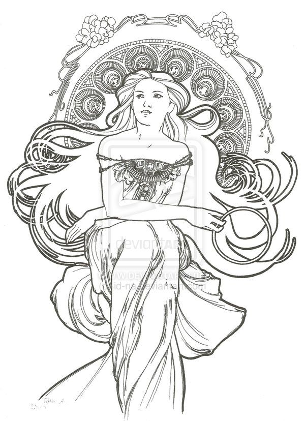 art nouveau style 5 by id na on deviantart coloring sheetsadult
