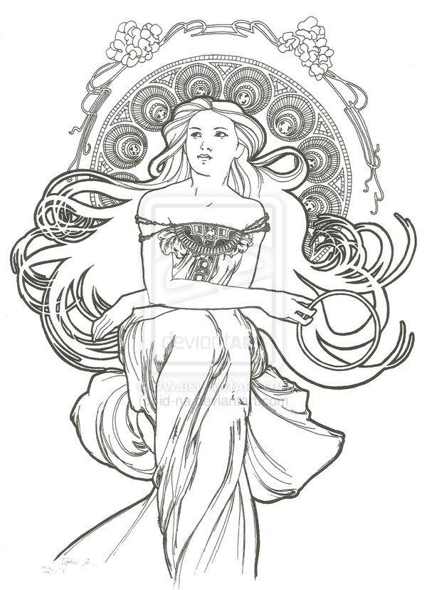 art nouveau style 5 by ~id-na on deviantART | PIROGRABADO HADAS Y ...