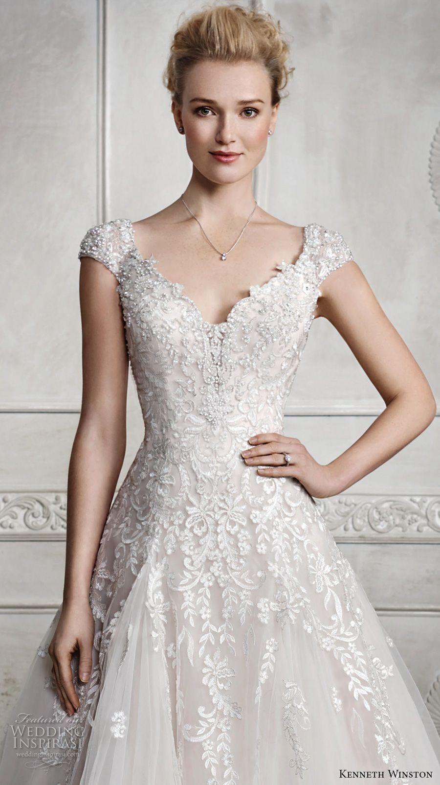 winston fall 2016 bridal cap sleeves v neck