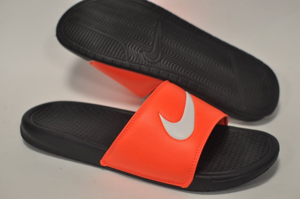 3e901febd294 Nike Benassi Shower Slide Sandals Men s 10 Logo Swoosh Black Neon Orange  slip on  Nike  Slides