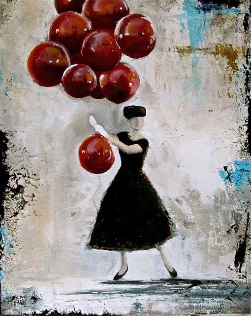 Tina Palmer Red Balloons Original Painting Art Paintings For Sale Balloon Art Original Art Painting