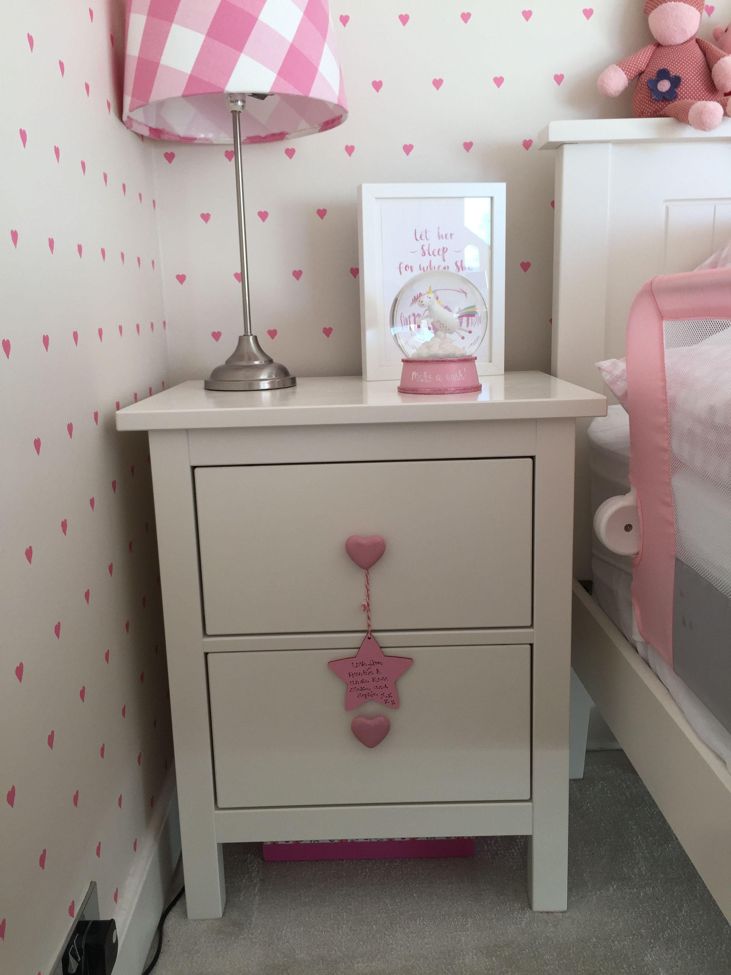 Pink Bedside Table: Pin Su Arran Bedroom