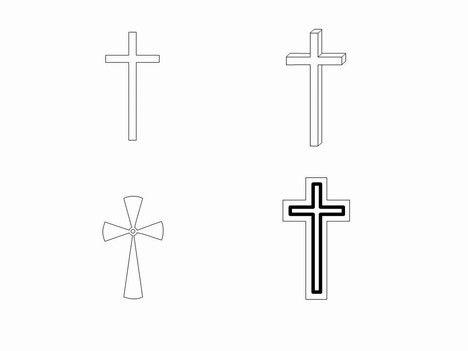 Cross Outline Cross Outlines Clip Art Powerpoint Template Slide2 Tatuajes