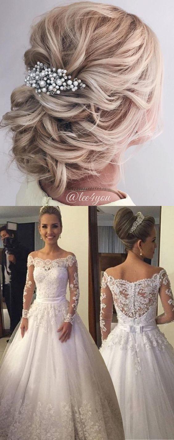 Dramatic off shoulder long sleeves floorlength wedding dress with