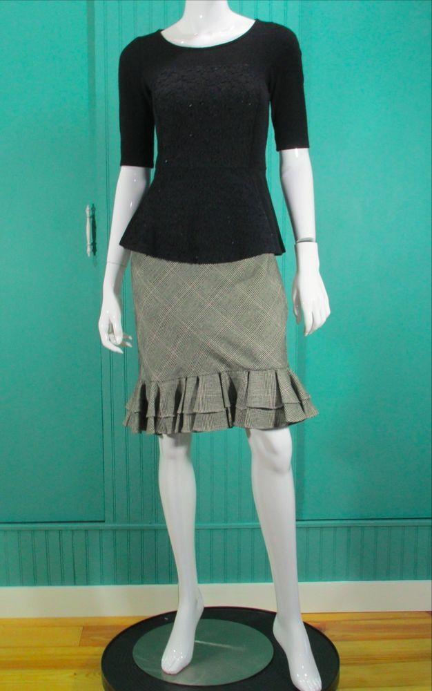Anthropologie Women's Shimmered Boucle Sweater Peplum Top Black #Anthropologie #Peplum