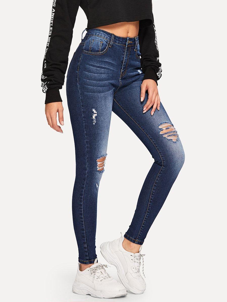 Bleach Dye Ripped Jeans Shein Sheinside Ropa Jeans De Moda Ropa Juvenil De Moda