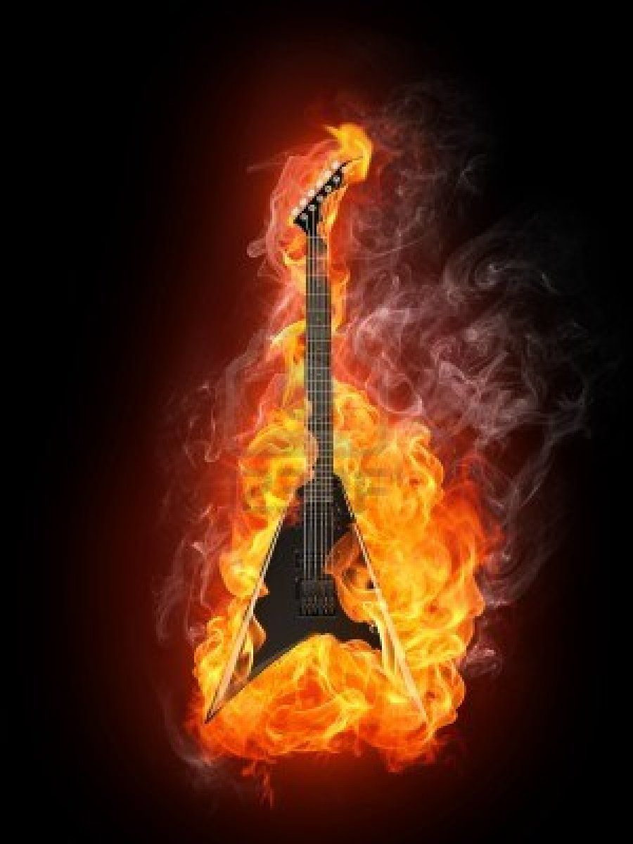Electric Guitar In Fire Isolated On Black Background Best Rock Music Music Praise Music