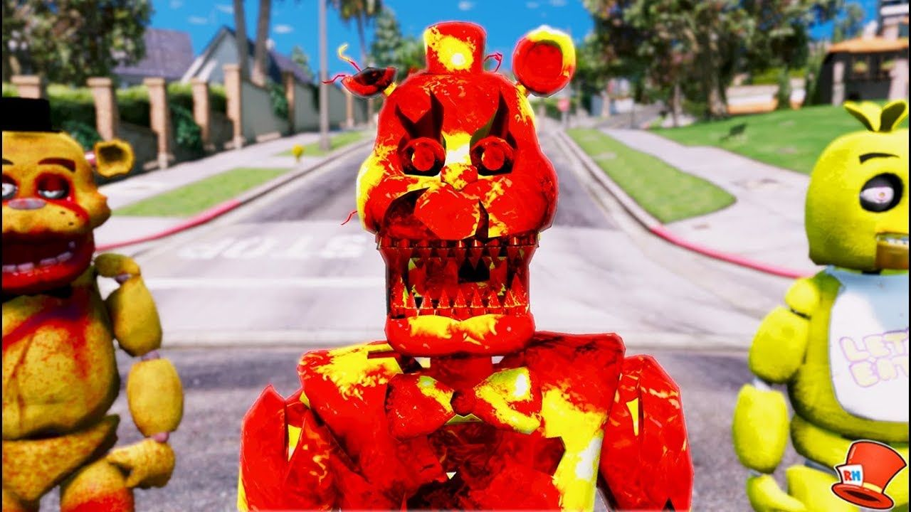 NEW LAVA NIGHTMARE FREDDY ANIMATRONIC! (GTA 5 Mods For Kids