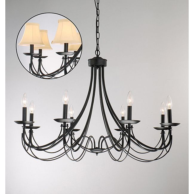 This classic black iron chandelier features a rustic hardy design this classic black iron chandelier features a rustic hardy design that will last a lifetime aloadofball Image collections