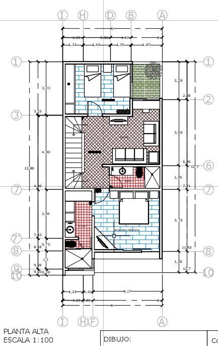 Descargar plano de casa 2 pisos 77 m2 dwg plans outs for Planos arquitectonicos de casa habitacion
