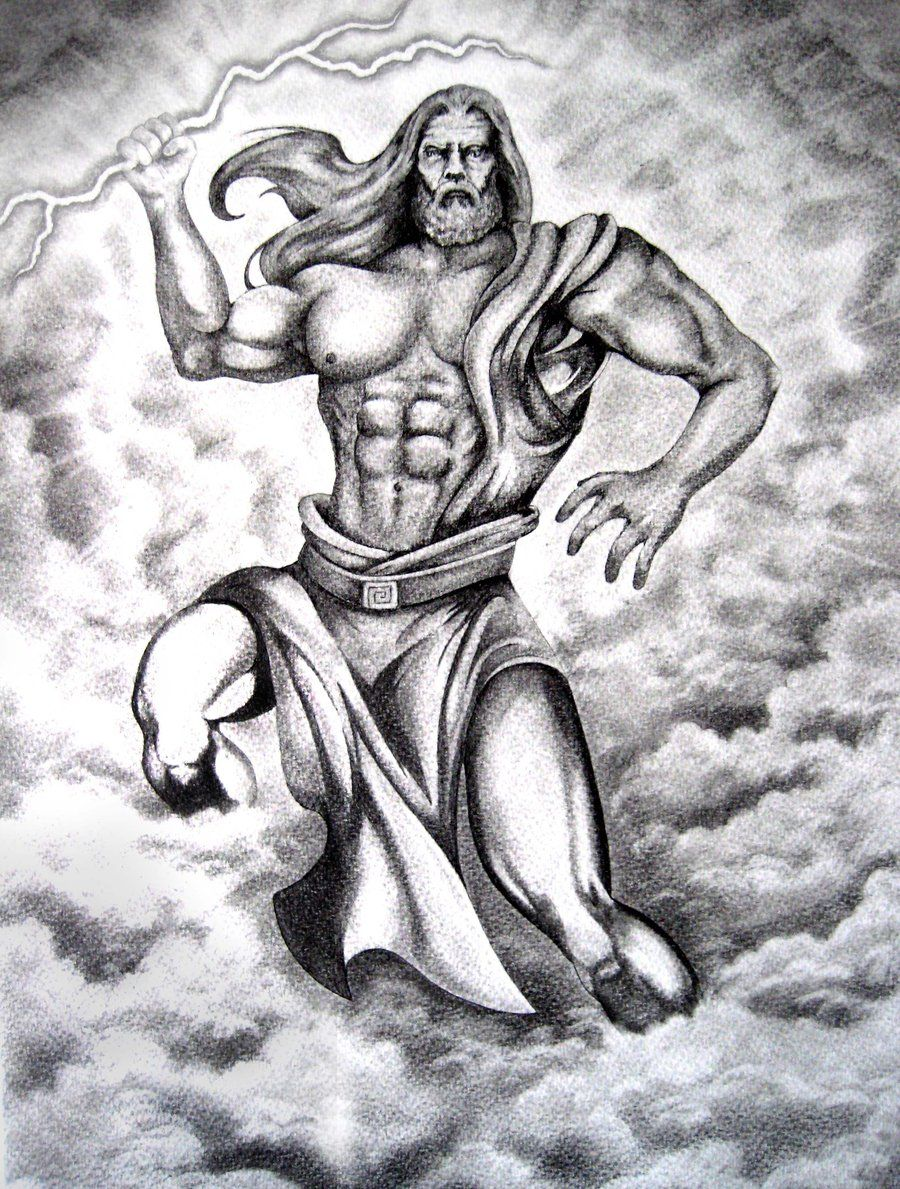 the greek god zeus arriving from the heaven with thunder zeus