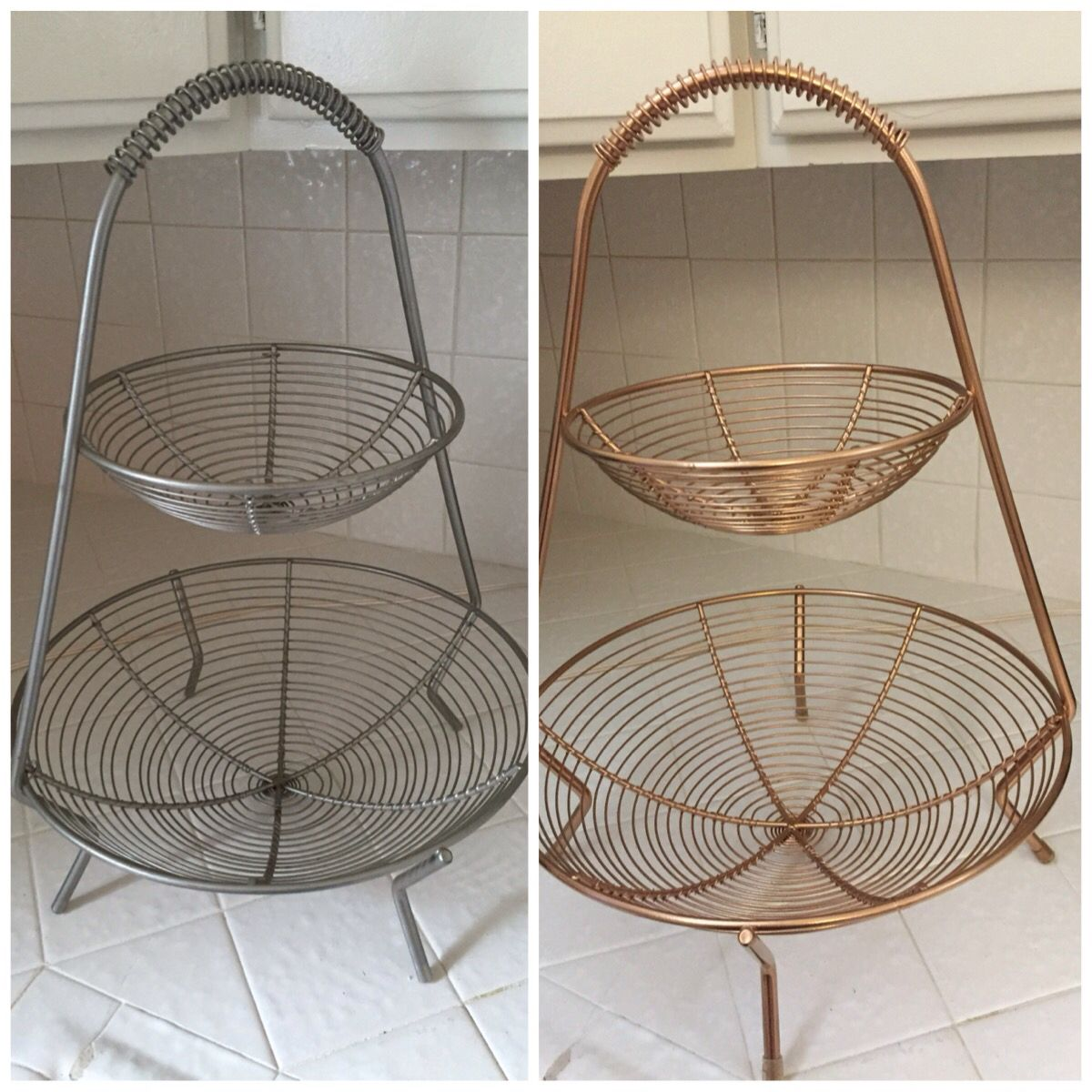 Black And Silver Kitchen Accessories: Before And After! Silver Fruit Baskets Spray Painted With