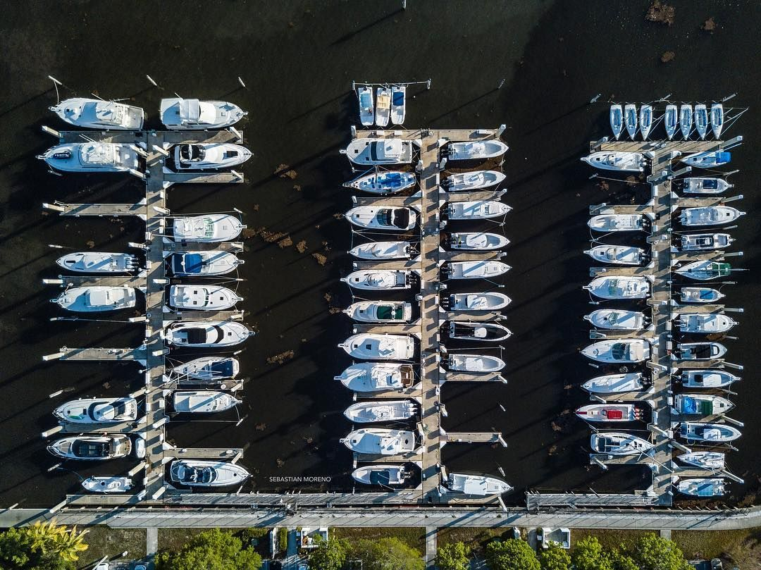 Drone photography all docked up marina at matheson