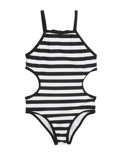 c3ba2468d86abd Kate Spade New York striped cutout-sides one-piece swimsuit, size 2-6x