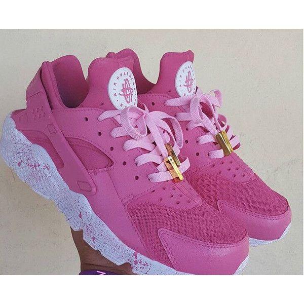 8ecf7c0d2fa Pink Nike Air Huarache Customs Unisex Pink Huaraches Nike Huaraches...  ( 194) ❤ liked on Polyvore featuring shoes