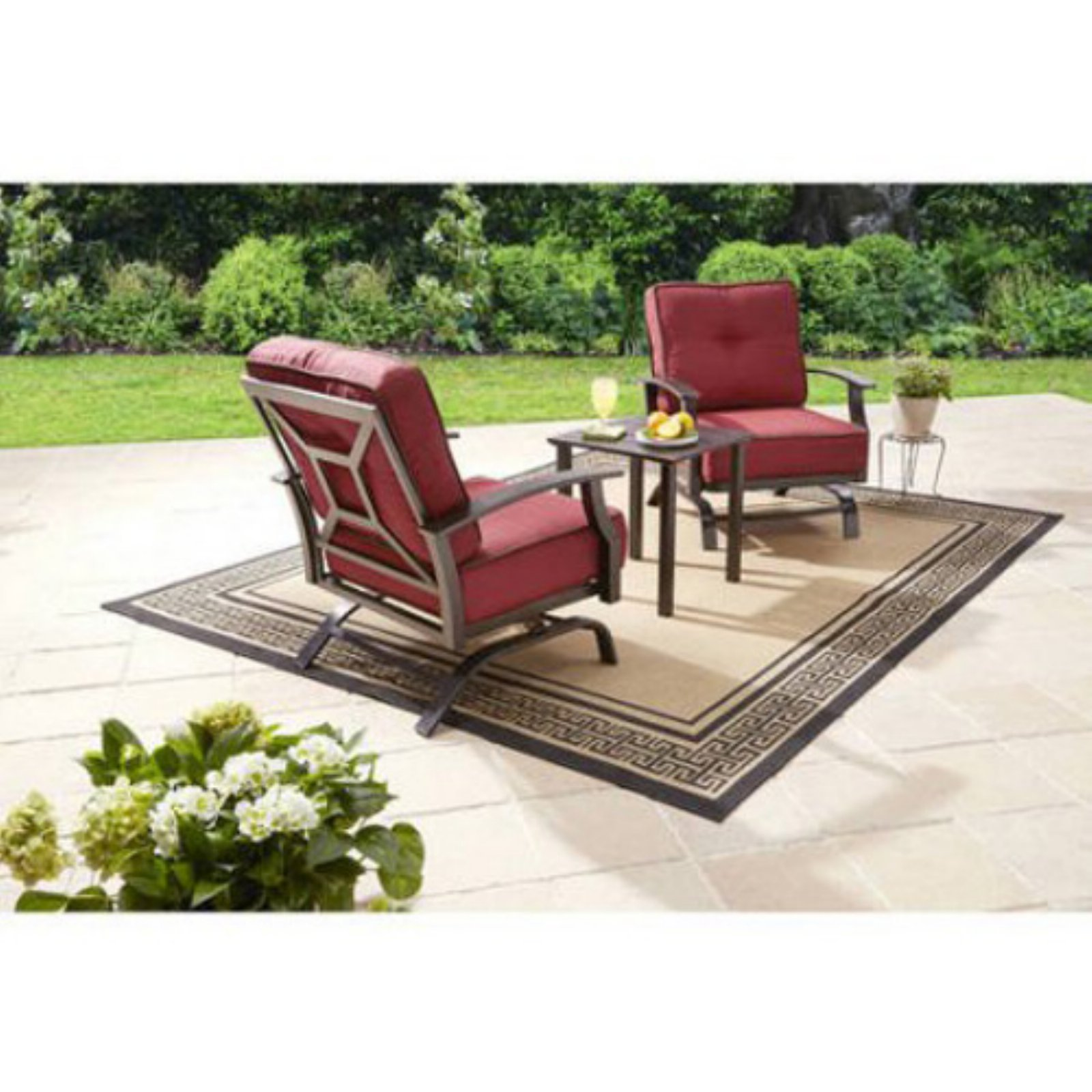 2df84727ea4d Better Homes & Gardens Carter Hills 3-Piece Patio Outdoor Chat Set Red
