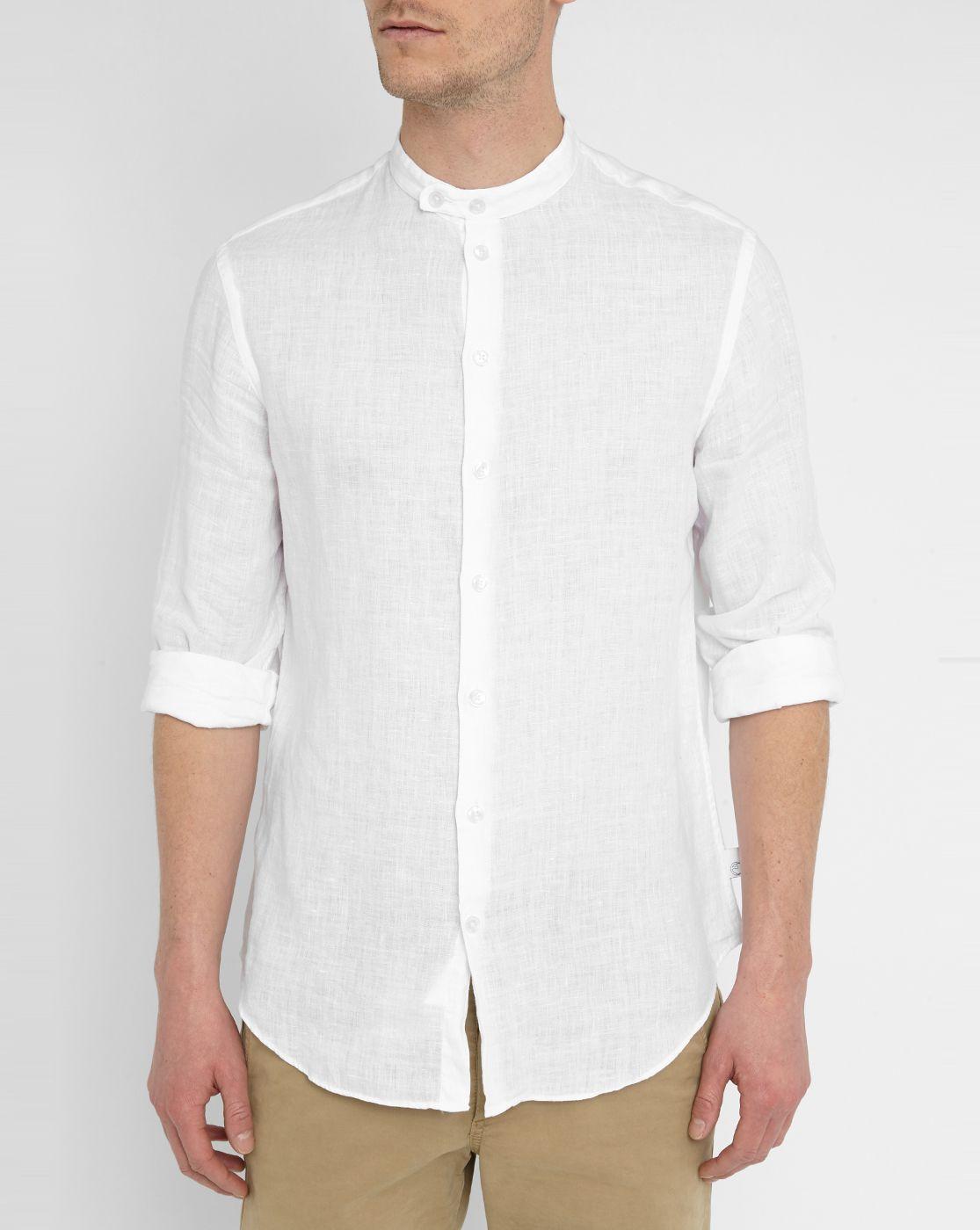 ec836aa8a White Mandarin Collar Linen Shirt | Places to Visit | Shirts ...