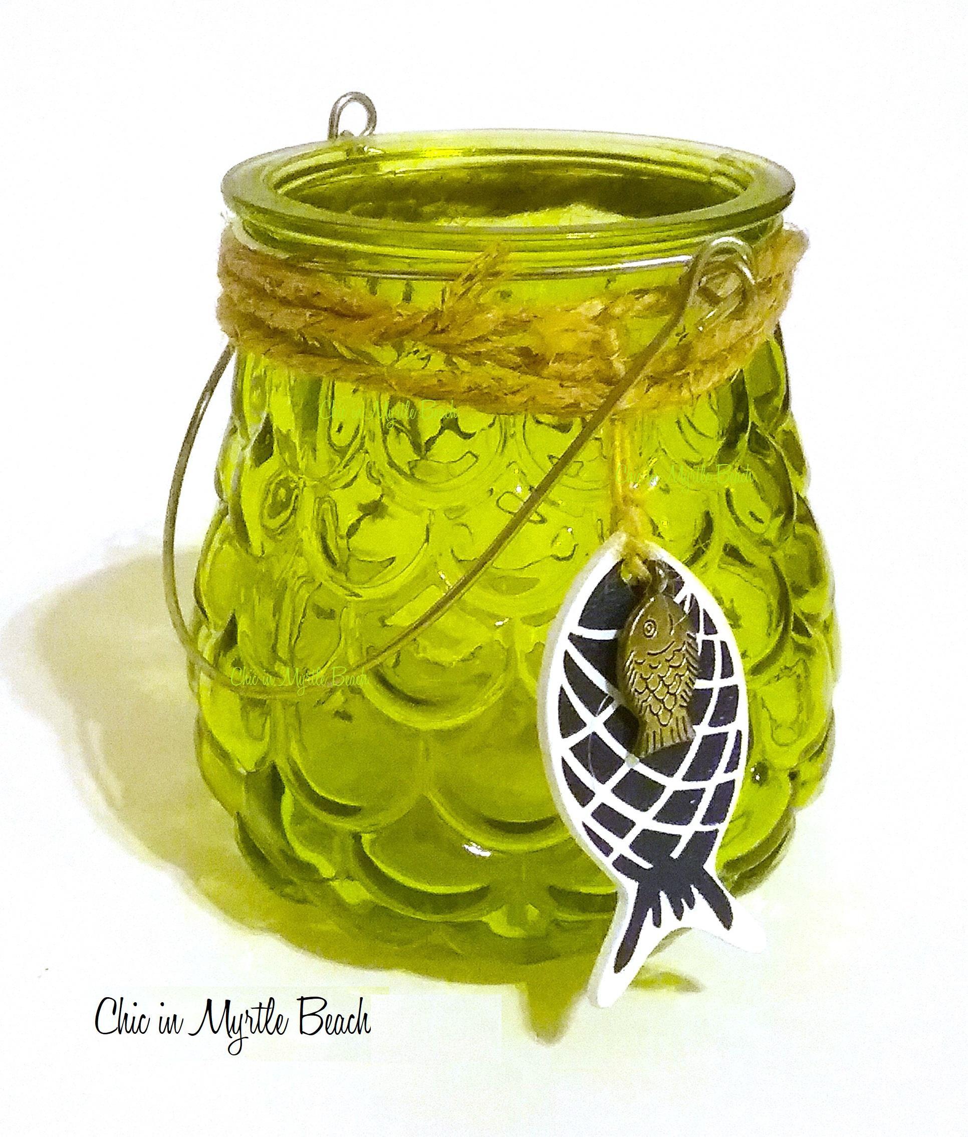 Fun green glass tealight lantern, perfect for your coastal, beach or nautical home decor! #coastaldecor #beachdecor #nauticaldecor #myebayshop #coastalliving #beachlife #coastaltableware #shabbychic #myrtlebeach