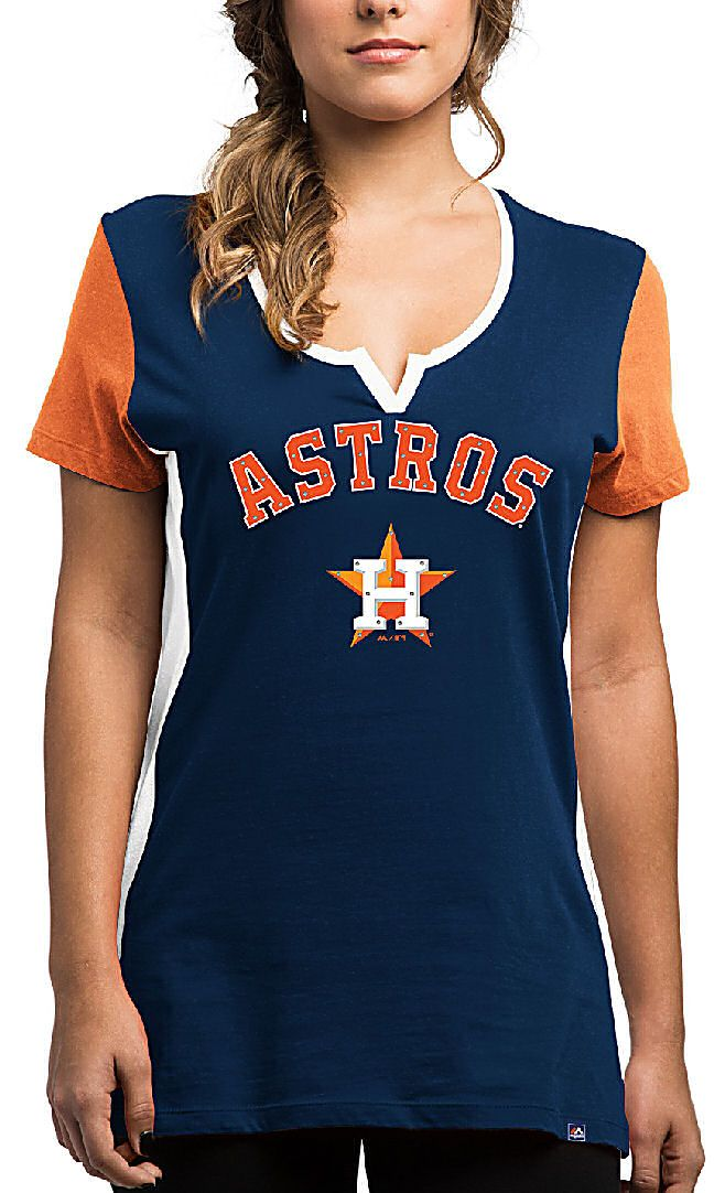 b8611a26ea7e2 Ladies Houston Astros Time To Shine Notched Scoop Neck Rhine Stud Short  Sleeve T Shirt  31.95