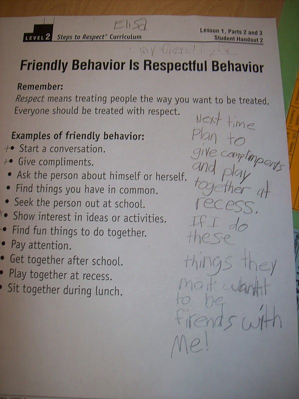 examples of respect at school