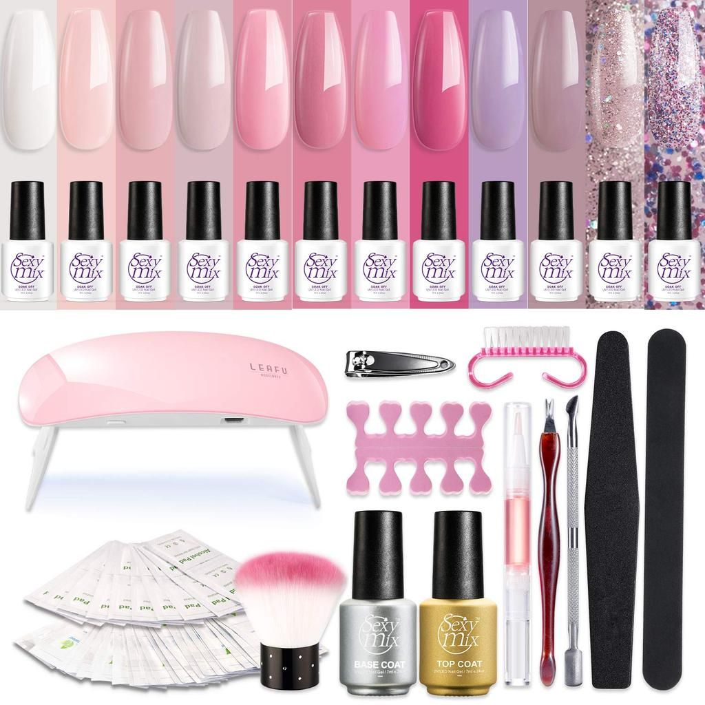 Gel Nail Polish Starter Kit with UV Light in 2020 Gel