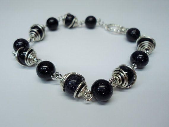 Blue Goldstone Caged Bead Bracelet by WorcesterWishes on Etsy