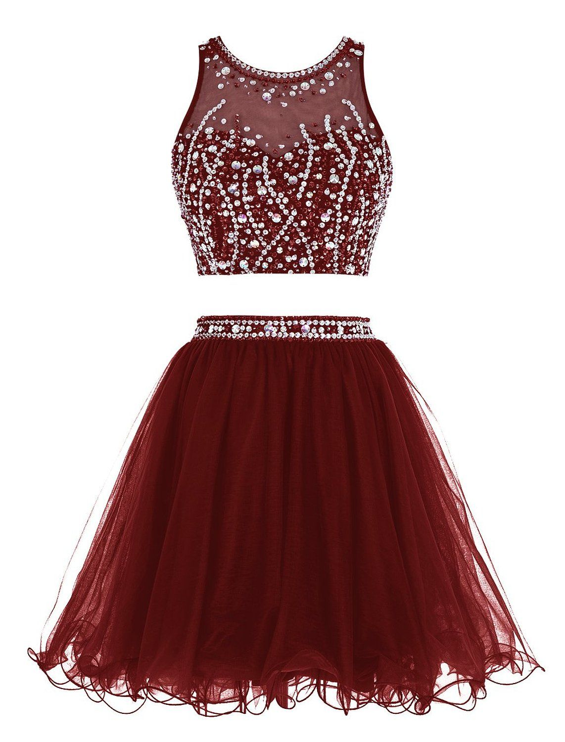 Tideclothes Short Beading Prom Dress Two Pieces Tulle Homecoming Dress  Burgundy US2 a7b8e661f