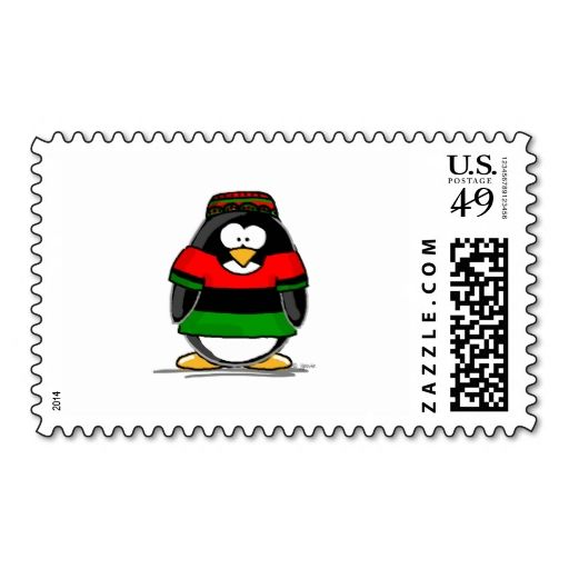 Kwanzaa Penguin Postage Stamps. This is customizable to put a personal touch on your mail. Add your photos or text to design your own stamp that can be sent through standard U.S. Mail. Just click the image to try it out!
