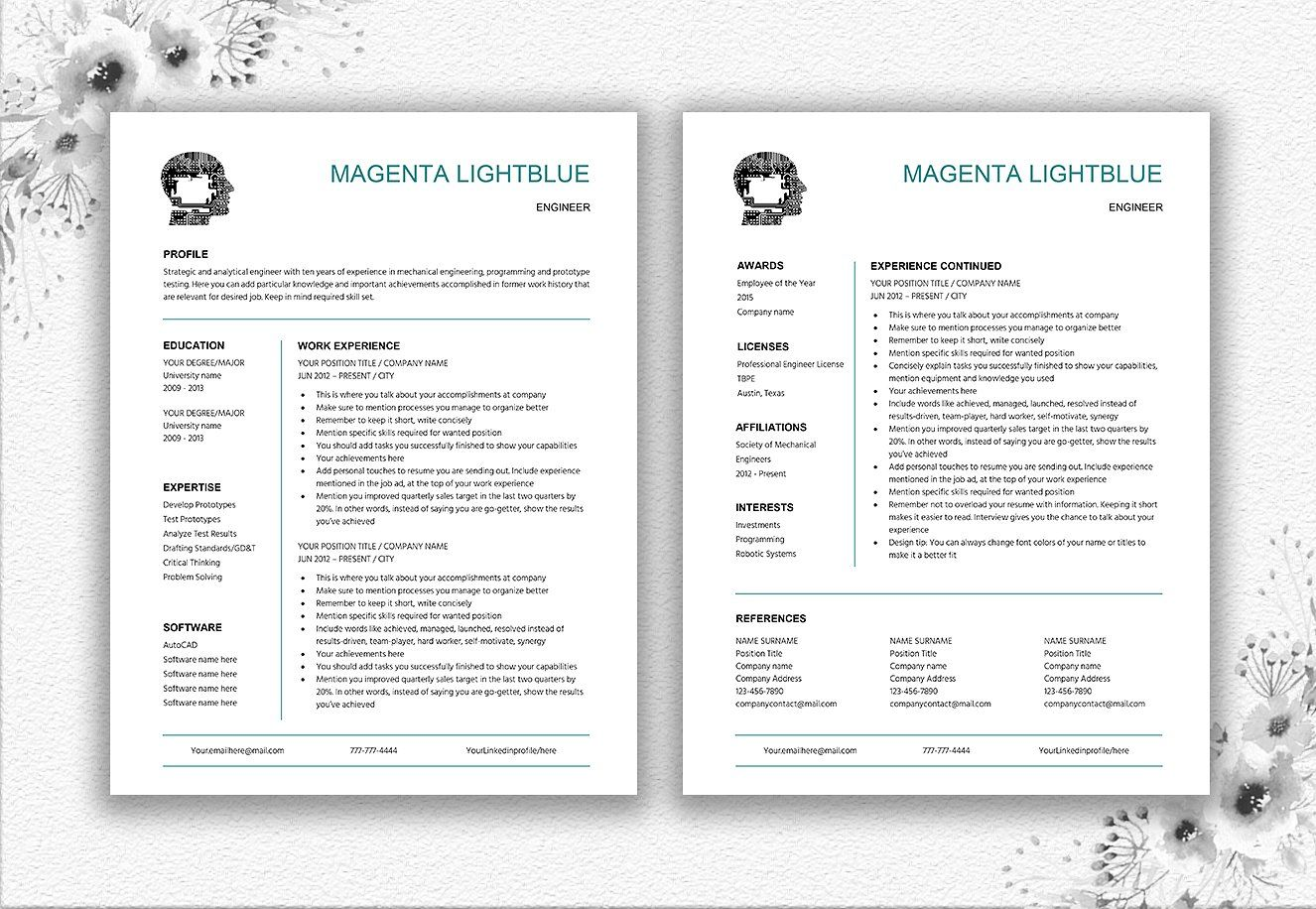 Engineer resume cv template by documentfolder on