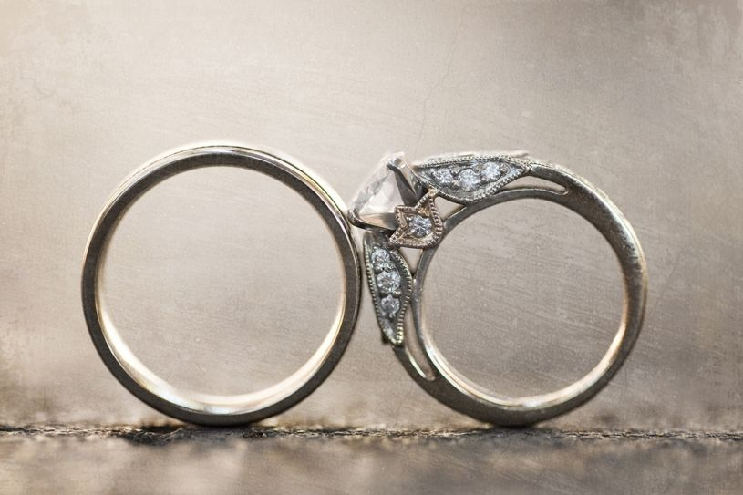Engagement Ring Wedding Bands Artistic Photo Pave Diamonds Full