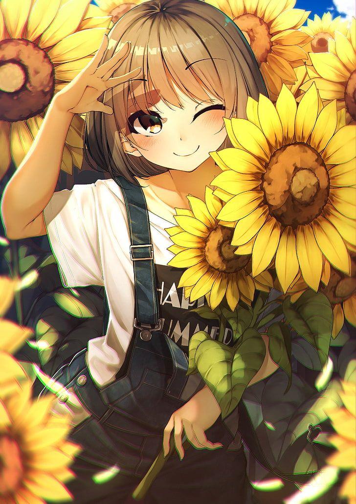 Hd Wallpaper Anime Anime Girls Rerrere Short Hair Brown Eyes Smiling Wallpaper Flare Anime Flower Anime Anime Smile