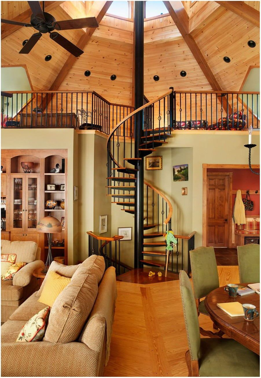 interior photos of octagon shaped living room  yurt home
