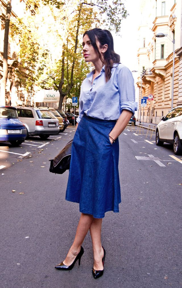 how to wear a denim circle skirt, stylish tips by Ana Josipović ...