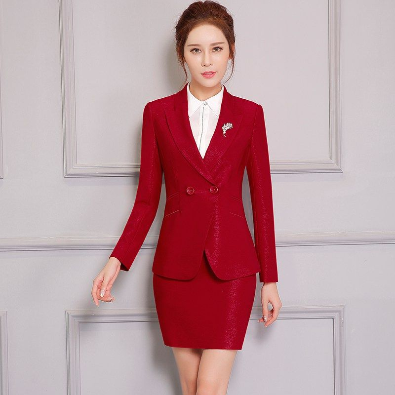 2cb60bb6a Double button Two Piece Ladies Formal Skirt Suit For Wedding Office ...