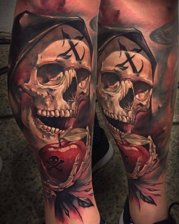 3d horror skull tattoo apfel tattoo 39 s pinterest 3d k rper und mann tattoo. Black Bedroom Furniture Sets. Home Design Ideas