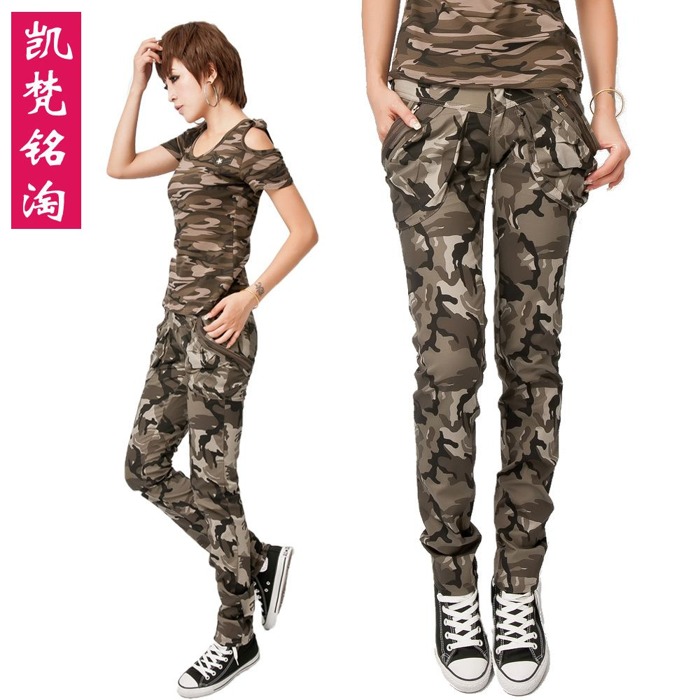 Women's Army Cargo Pants Camouflage Caogo Pants Military Green Color Pencil  Pants Camouflage Skinny