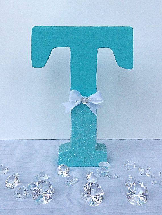 Aqua Glitter Letters Winter Wedding Sweetheart Table Decor
