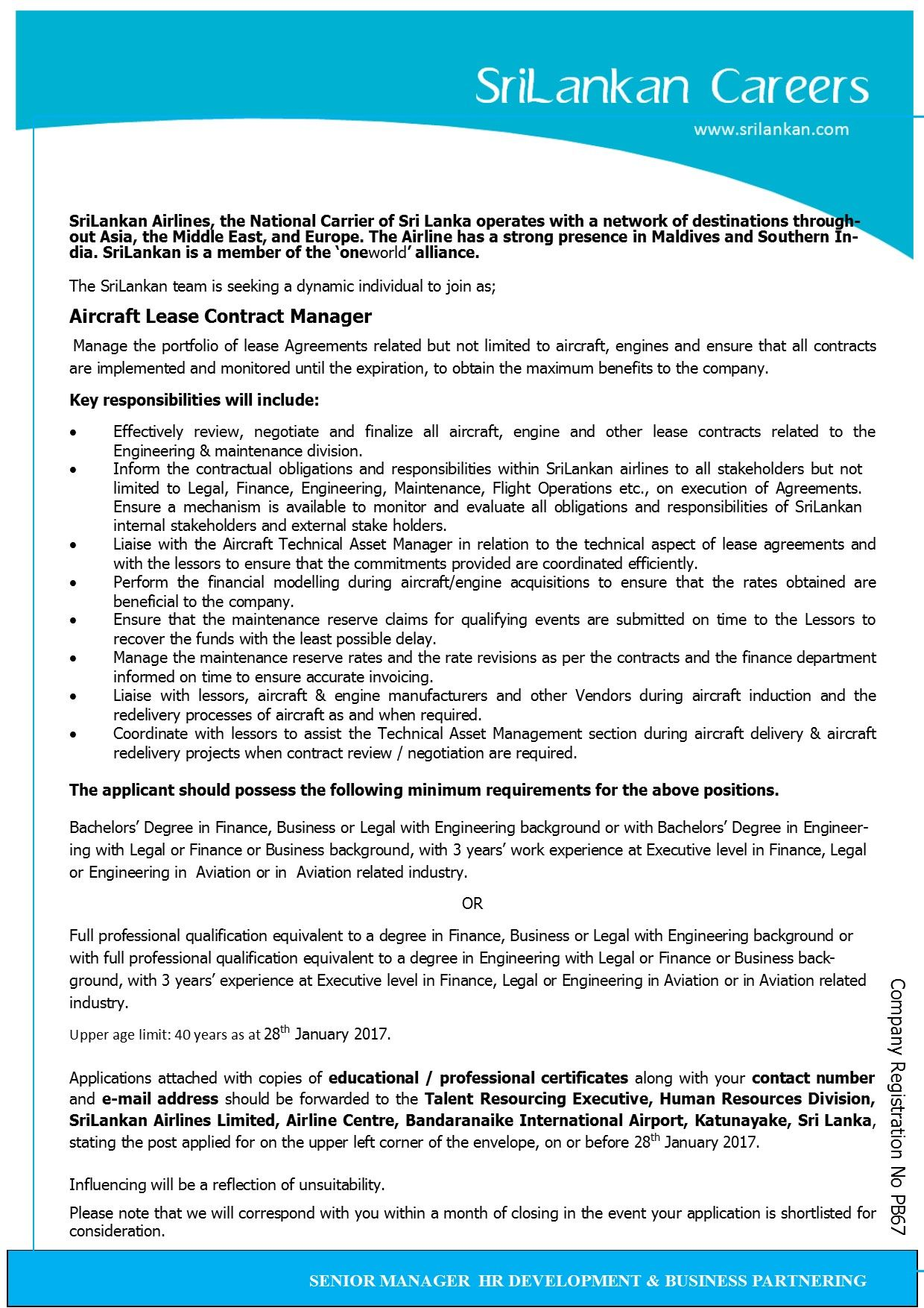 Aircraft Lease Contract Manager At Sri Lankan Airlines  Career