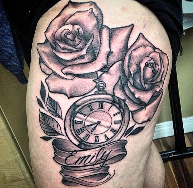 Clock With Banner And Customs Script Tattoo Traditional Realistic Rose Tattoo Black And Grey Shade Pocket Watch And Roses