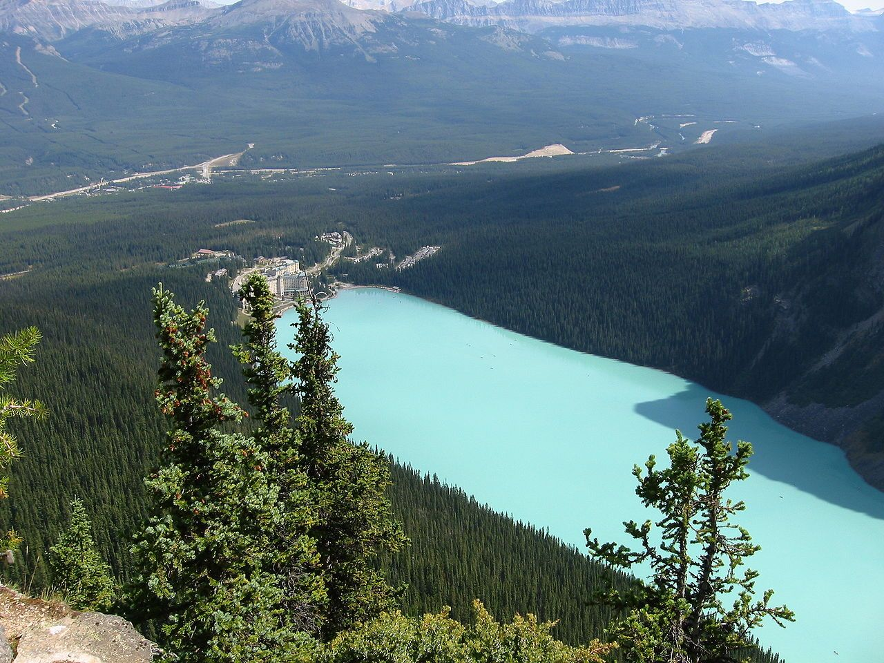 View of Lake Louise from the top of the Big Beehive. Banff National Park, Alberta, Canada