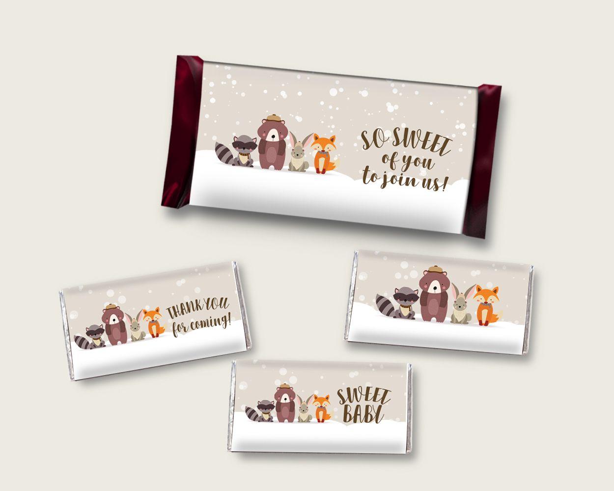Winter Woodland Hershey Candy Bar Wrapper Printable Beige