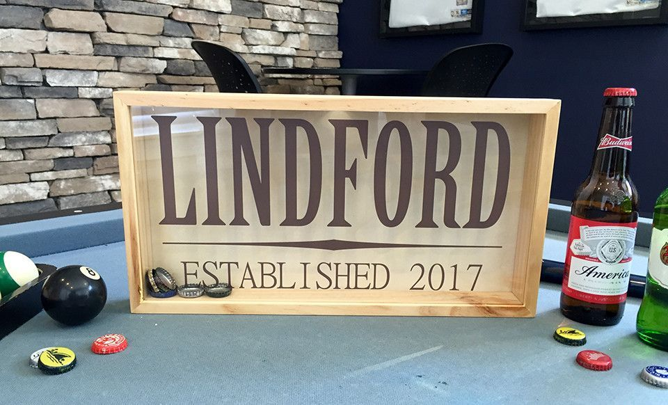 Personalized Beer Bottle Cap Shadow Box Large Shadow