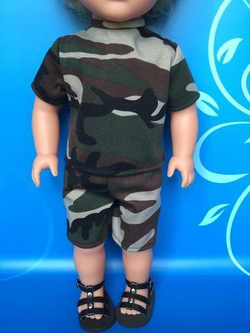 boy doll clothes - shorts outfit - camo knit 3 #boydollsincamo