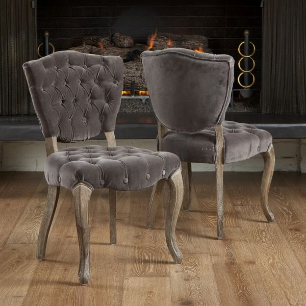 Delightful Christopher Knight Home Bates Tufted Grey Fabric Dining Chairs (Set Of 2) |  Overstock