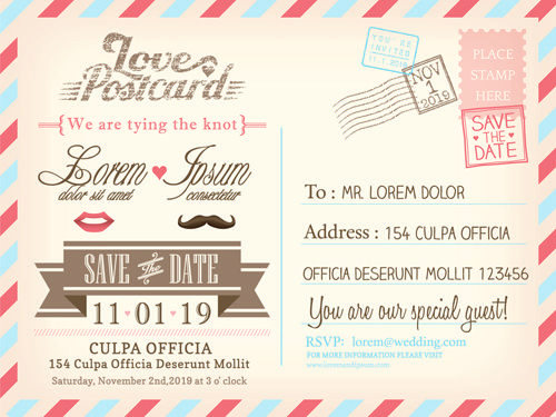Wedding Invitations Postcard Design Graphic Vector   Save The