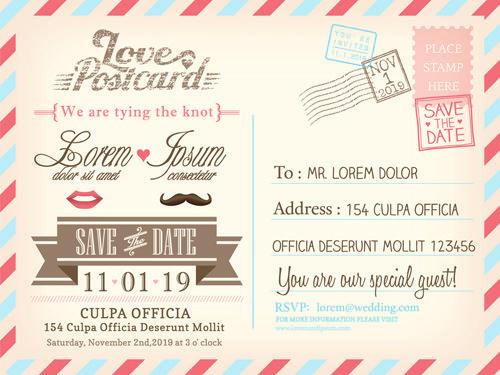 Wedding invitations postcard design graphic vector 03 – Wedding Postcard