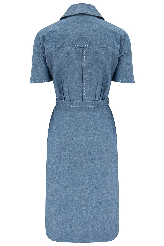 The Josie Dress in Lightweight Denim Blue Cotton Chambray, True & Authentic 1950s Vintage Style - 8