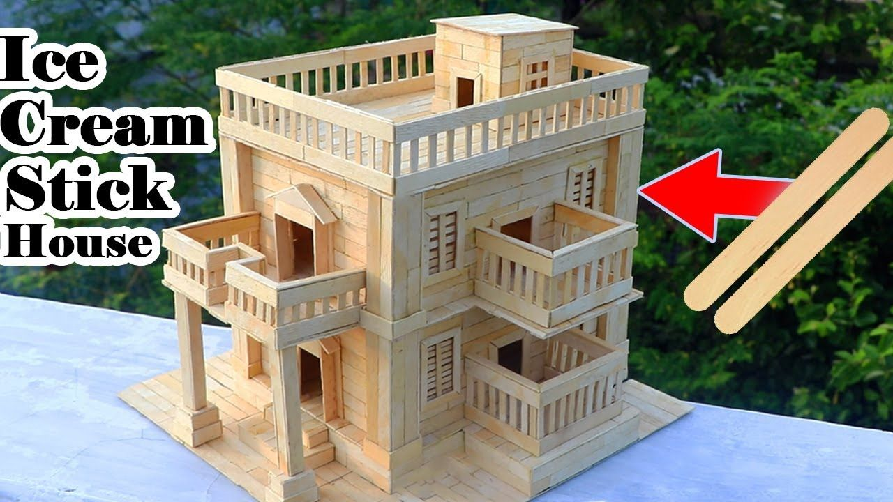 How To Make Modern Popsicle Sticks House   Building Popsicle Stick Mansion