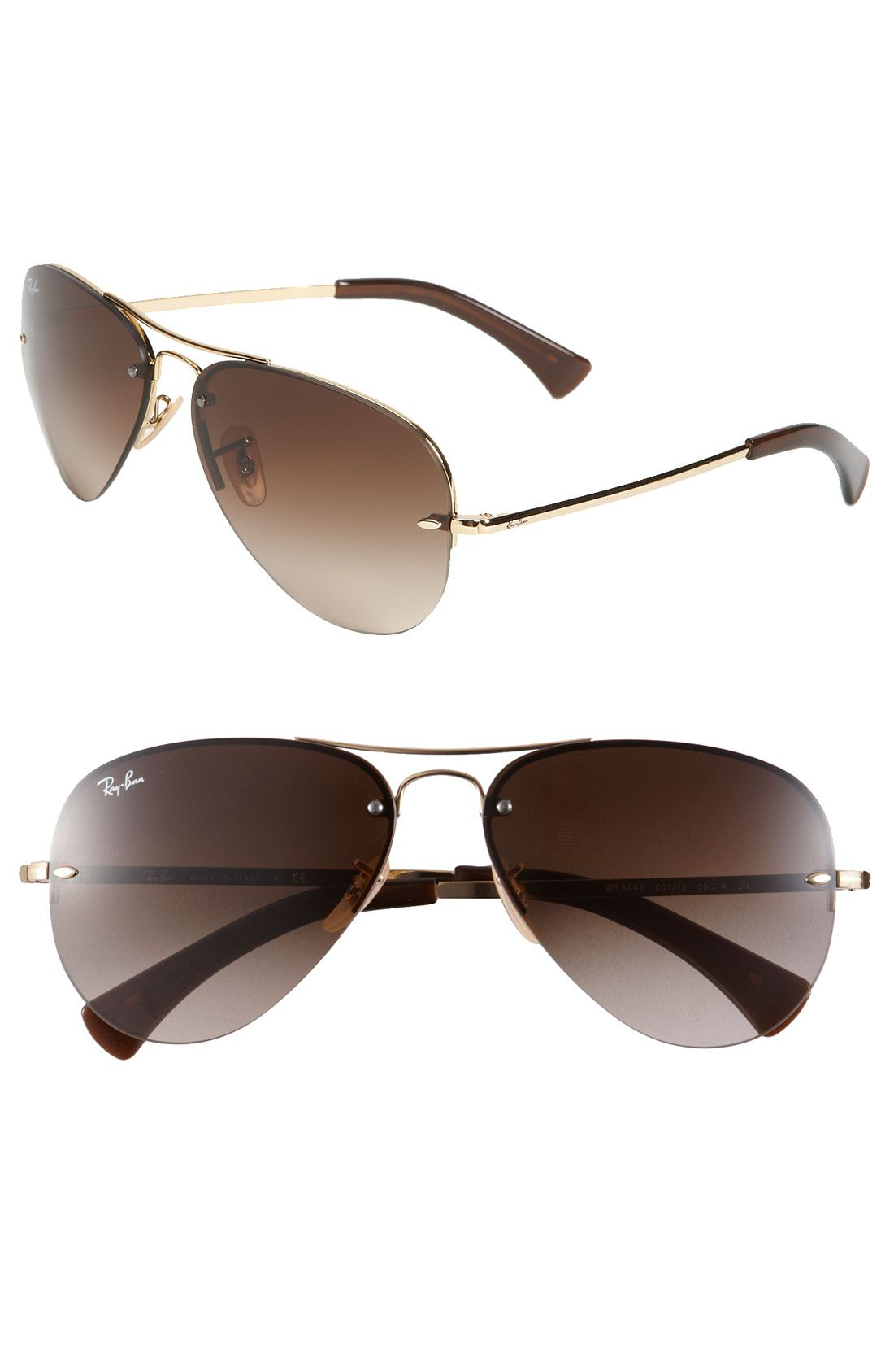 Ray-Ban 59mm Semi Rimless Aviator Sunglasses | Fashion | Pinterest ...